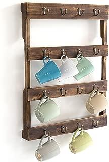 Wall Mounted 12 Hook Torched Wood Coffee Mug Cup Holder Display Rack