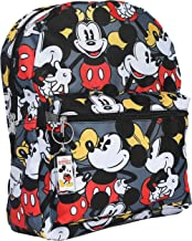 """Disney Mickey Mouse 16"""" Backpack Bag AOP & Keychain - 2 Piece Set (Mickey)"""