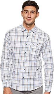 Octave Men's Plain Weave Checks Casual Shirt, Sky