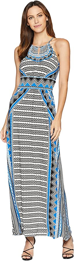 Zigzag Diamond Halter Maxi Dress