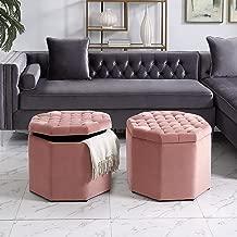 Inspired Home Nova Blush Velvet Storage Ottoman - Upholstered   Tufted   Livingroom, Entryway, Bedroom   1 pc ONLY
