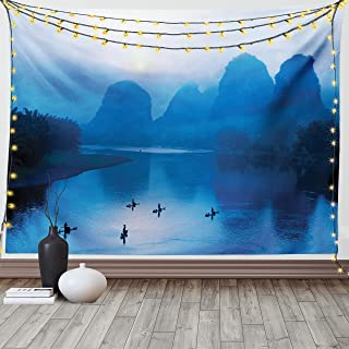 Ambesonne Asian Tapestry King Size, Sunrise with Bamboo Raft at Yangshuo on Li River China Fishing Boat Scenic Mist, Wall ...