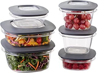 Rubbermaid Premier Easy Find Lids Meal Prep and Food Storage Containers, Set of 6 (12 Pieces Total), Grey |BPA-Free & Stai...