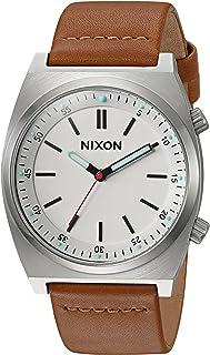 ساعة نيكسون للرجال من ستانلس ستيل كوارتز مع حزام جلد صناعي، بني، 21 موديل A11782728