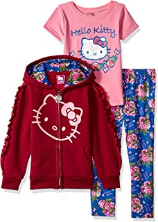 c02c0a1d8 Hello Kitty Girls' 3 Piece Hooded Set with T-Shirt and Printed Leggings