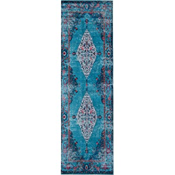 Mylife Rugs Traditional Vintage Non Slip Machine Washable Distressed Printed Area Rug, Turquoise Red 2'7x7'7