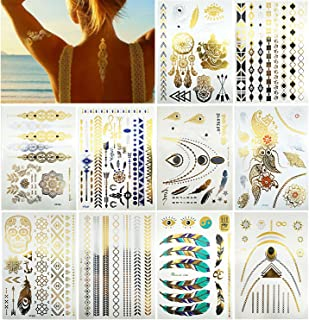 10 Sheets Premium Metallic Tattoos - 150+ Shimmer Designs in Gold, Silver, Black and Turquoise - Temporary Fake Jewelry Tattoos - Bracelets, Feathers, Wrist and Arm Bands