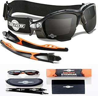 ToolFreak Spoggles, Safety Glasses and Protective Goggles, Eyewear Foam Padded for Comfort and Better Protection, ANSI Z87 Rated, Smoke Tinted Lens with Impact and UV Protection