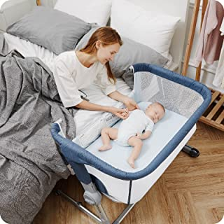 Unilove Hug Me Plus 3-in-1 Baby Bassinet, Adjustable Bedside Co Sleeper, Portable Travel Cosleeping Bed, Newborn Side Cri...