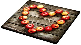 Lunarable Rustic Cutting Board, Rustic Wooden Surface Fresh Ripe Apples Veggies Fruit Healthy Living Theme, Decorative Tempered Glass Cutting and Serving Board, Small Size, Brown Red