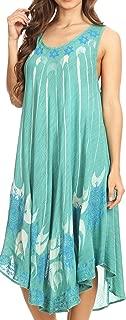 Sakkas Ecrin Women Tie-dye Sleeveless Stonewashed Caftan Cover up Dress Flowy