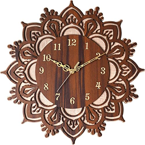 Kangaroo Flower Shape Without Glass Decorative Wooden Non Ticking Silent 15 Inch Round Easy To Read Home Office Kitchen Bedroom Hall Way Etc Decor Clock