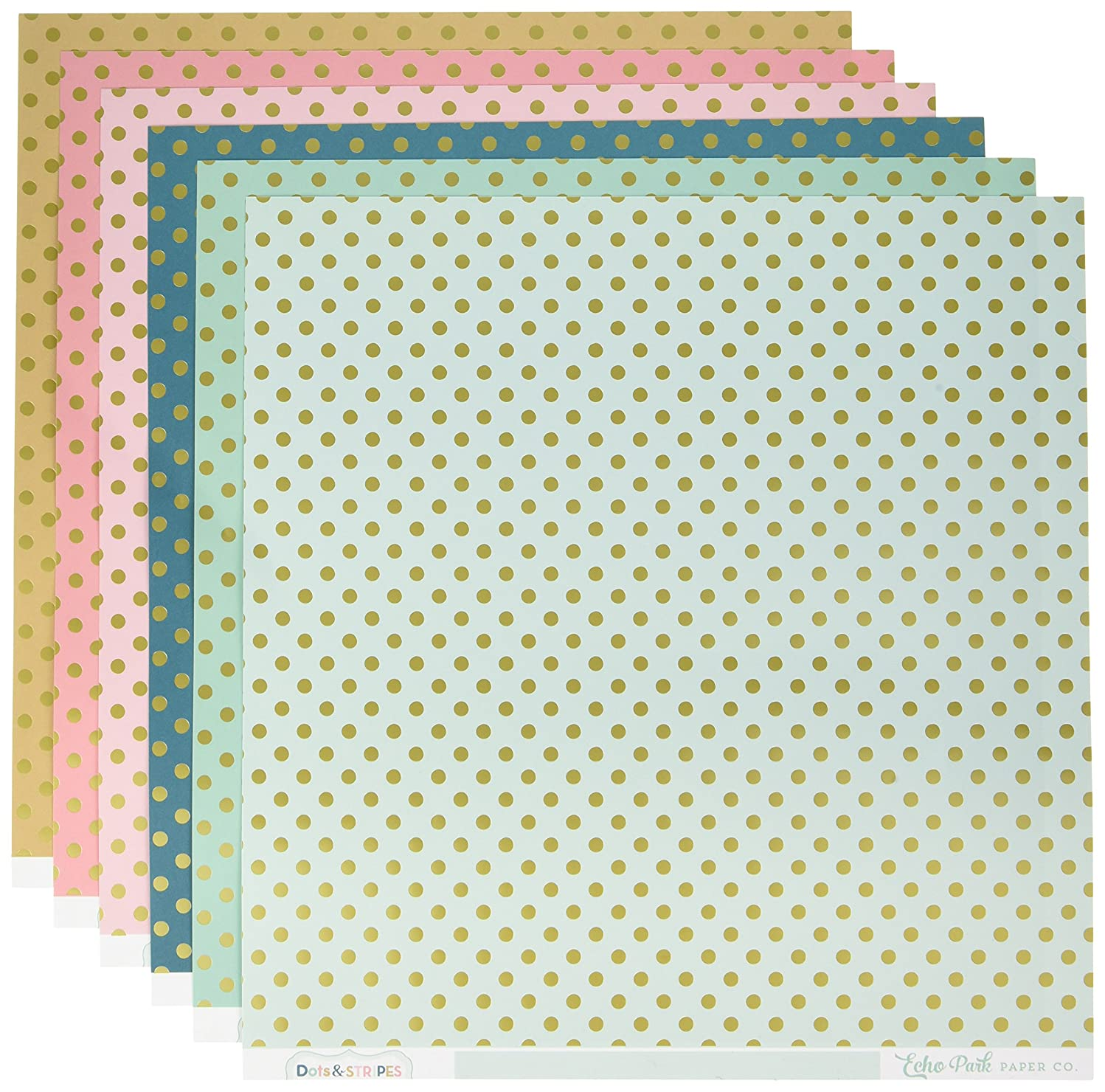 Echo Park Paper Company DS16007 Dots & Stripes with Gold Foil 12x12 Collection Kit