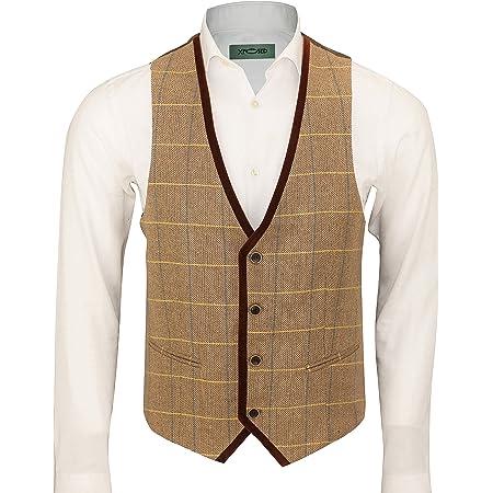 Mens Vintage Herringbone Tweed Check Velvet Trim Retro Waistcoat Oak Brown Grey [Chest UK 36 EU 46,Light Oak]