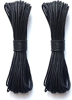 LWR Crafts 2mm Waxed Cotton Cord 45 Feet Per Pack (Pack of 2) (Black)