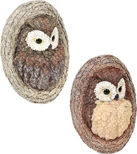 lowest Sunnydaze Winifred and Wesley The Wise Old Owls Tree online Hugger - Polyresin Outdoor Tree Decor - Garden Sculpture Decoration lowest - Whimsical Owl Tree Face online