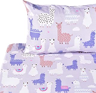 J-pinno Llamas Alpaca Full Sheet Set Bedroom Decoration Gift, 100% Cotton, Flat Sheet + Fitted Sheet + Pillowcase Bedding Set (Full, 13)