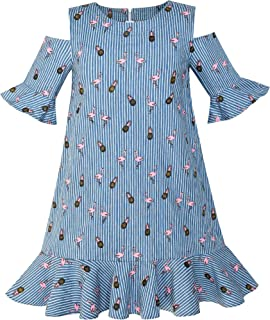 Sunny Fashion Girls Cold Shoulder Dress Denim Blue Cowboy 3/4 Sleeve Size 6-12 Years