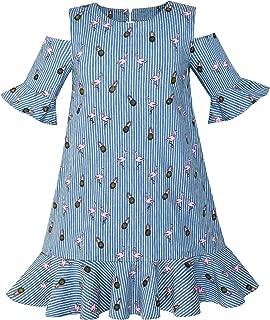 Áo quần dành cho bé gái – Girls Cold Shoulder Dress Denim Blue Cowboy 3/4 Sleeve Size 6-12