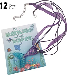 justBe 12 Mermaid Necklace Party Supplies Favors Gifts Handmade Glittery Pendants Individual Package for Girls