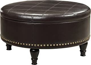 INSPIRED by Bassett Augusta Eco Leather Round Storage Ottoman with Brass Color Nail Head Trim and Deep Espresso Legs, Espresso