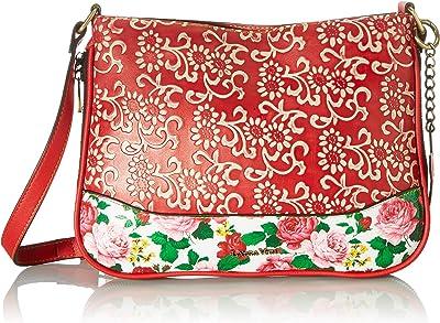 Laura Vita Womens 4237 Sling Bag, Clutch, Flowers, Rouge, Medium
