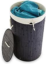 Relaxdays Wäschekorb Bambus rund Ø 41 cm, faltbare Wäschetruhe, Volumen 80 Liter, Wäschesack aus Baumwolle, schwarz