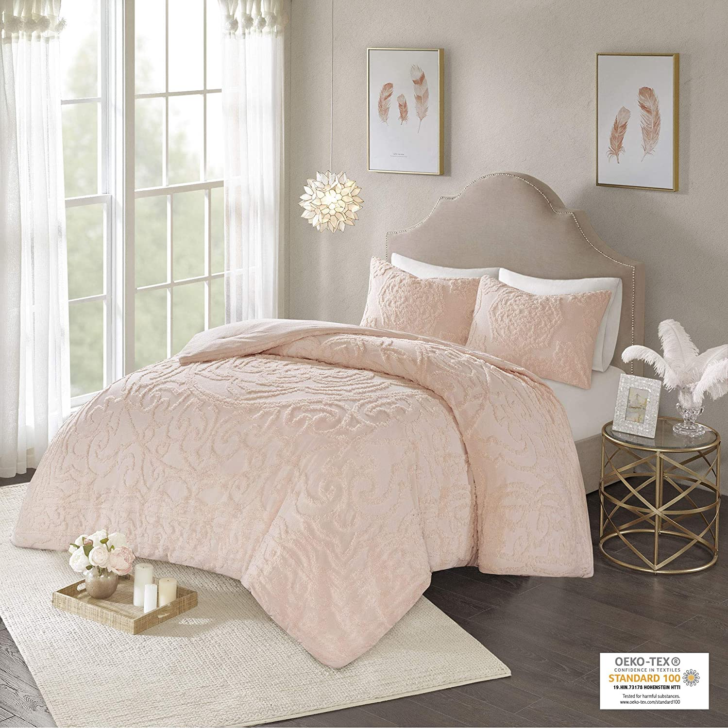 Madison Park Laetitia Shabby Chic All Season Down Alternative Bed Set with Matching Shams, King/Cal King Floral Blush