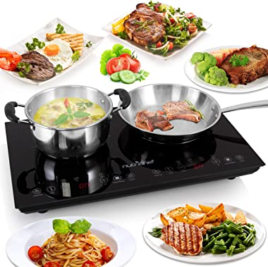 Dual 120V Electric Induction Cooker - 1800w Portable Digital Ceramic Countertop Double Burner Cooktop w/ Kids Safety Lock - W