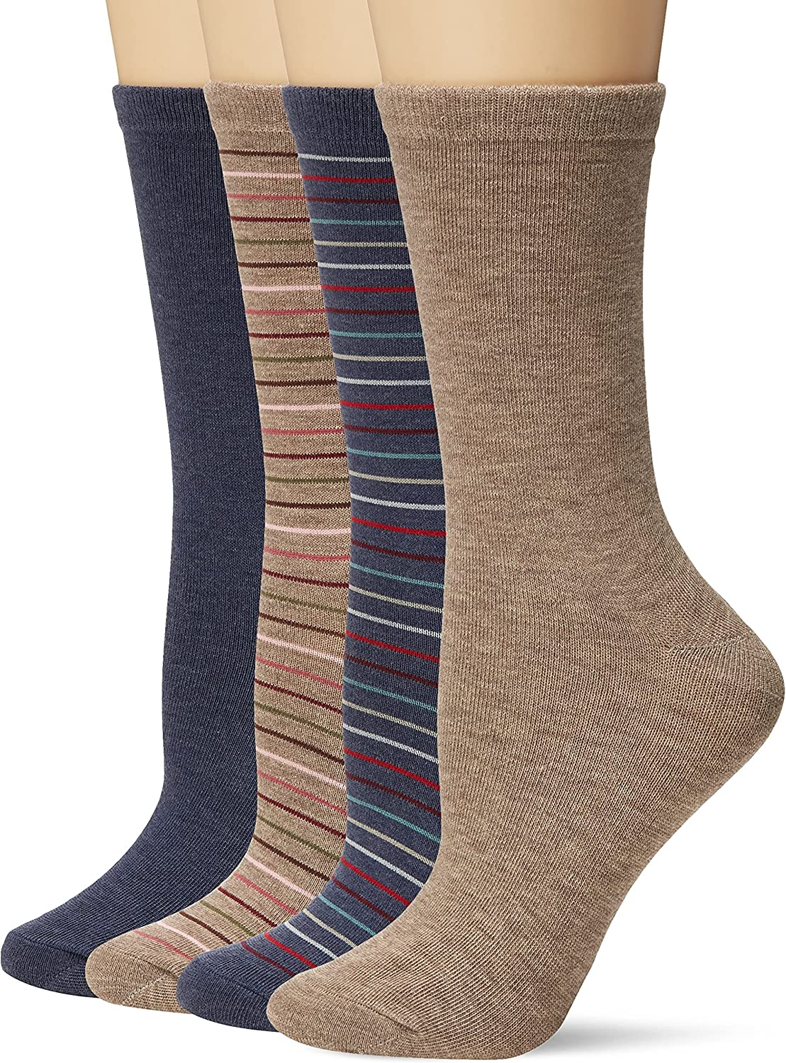 PEDS Women's Light Brown and Denim Heather Solids and Stripes Crew Socks 4 Pairs