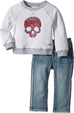 Hudson Kids - Two-Piece Reverse French Terry Pullover Indigo Kit Denim Pants (Infant)