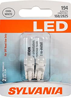 SYLVANIA - 194 T10 W5W LED White Mini Bulb - Bright LED Bulb, Ideal for Interior Lighting - Map, Dome, Cargo and License Plate (Contains 2 Bulbs)