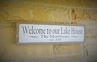 Welcome to our Lake House Wood Sign Personalized Wooden Sign Established Custom Sign Exterior Outdoor Distressed Sign 24