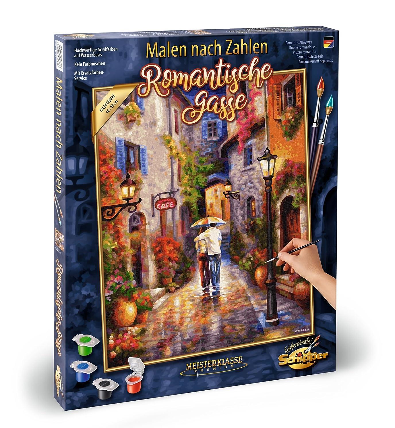 Noris Spiele Schipper Paint Numbers – Romantic 609130788 Gasse, 40 x 50 cm Multicoloured, Colourful
