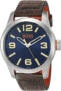 HUGO BOSS Orange Men's 'PARIS' Quartz Stainless Steel and Beige Leather Casual Watch (Model: 1513352)