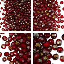 Cuentas de vidrio facetado checo, Fire-Polished, redondas 3mm, 4mm, 6mm, 8mm. Ruby Valentinite. Un total de 275 piezas. Set 1CFP 017 (3FP093 4FP061 6FP058 8FP066)