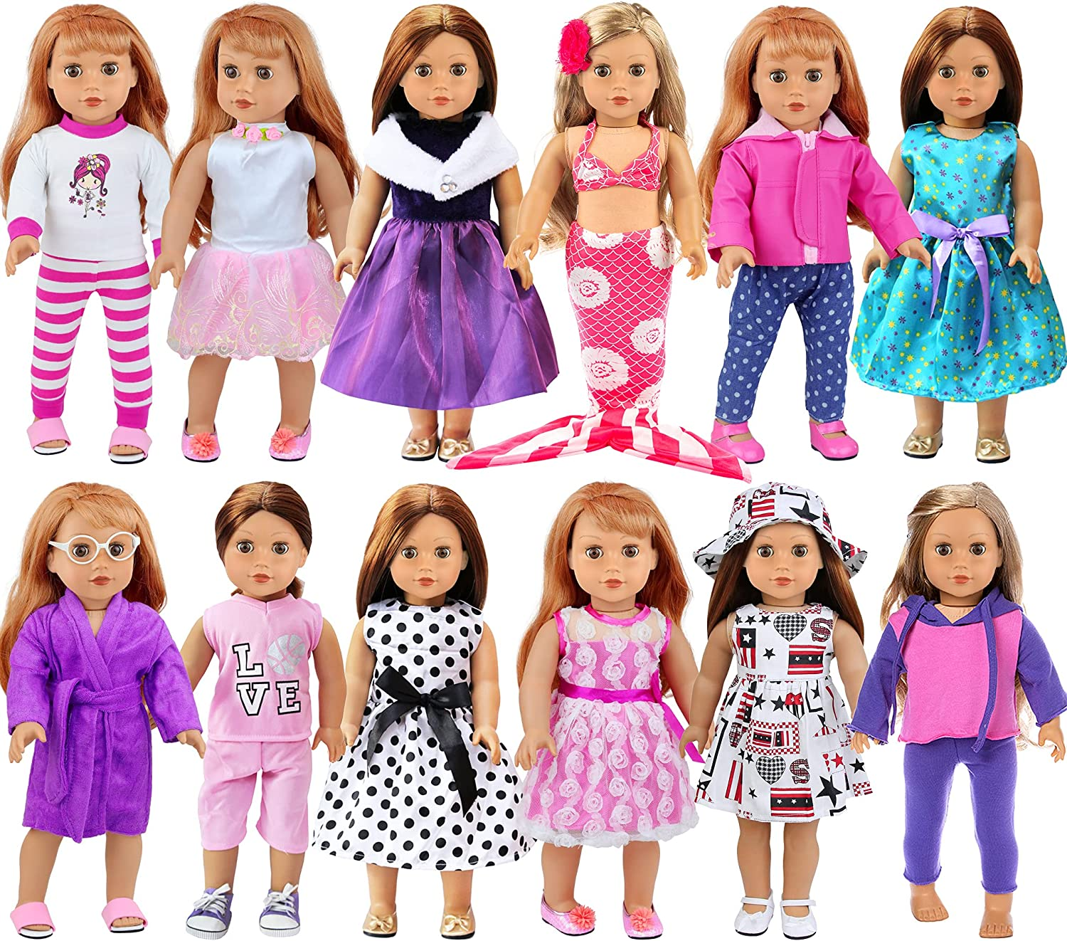 ZITA ELEMENT 12 Sets American 18 Max 44% OFF and Girl Clothes Inch Acce Doll Finally popular brand