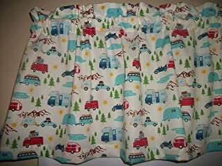 Retro Vintage Camper VW Bus Car Mountains Lake woods RV decor window curtain topper fabric Valance