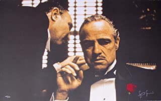 """Leos Coffers Artwork by Steve Schapiro Godfather The Whisper Hand Signed Ltd Ed Lithograph Print. After The Original Painting or Drawing. Marlon Brando Measures 34.5"""" X 21.5."""""""