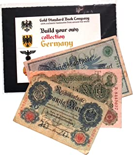 Gold Standard Book Co German Empire 3 Authentic Banknotes from Kaiser Era (Build Your Own Collection)