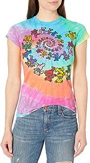 Women's Grateful Dead Spiral Bear Rainbow Tie Dye Graphic Tee