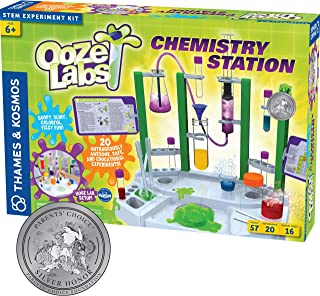 Thames & Kosmos Ooze Labs Chemistry Station Science Experiment Kit, 20 Non-Hazardous Experiments Including Safe Slime, Chr...