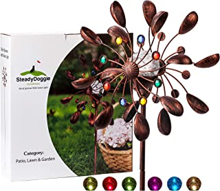 SteadyDoggie Solar Wind Spinner New 75in Jewel Cup Multi-Color Seasonal LED Lighting..