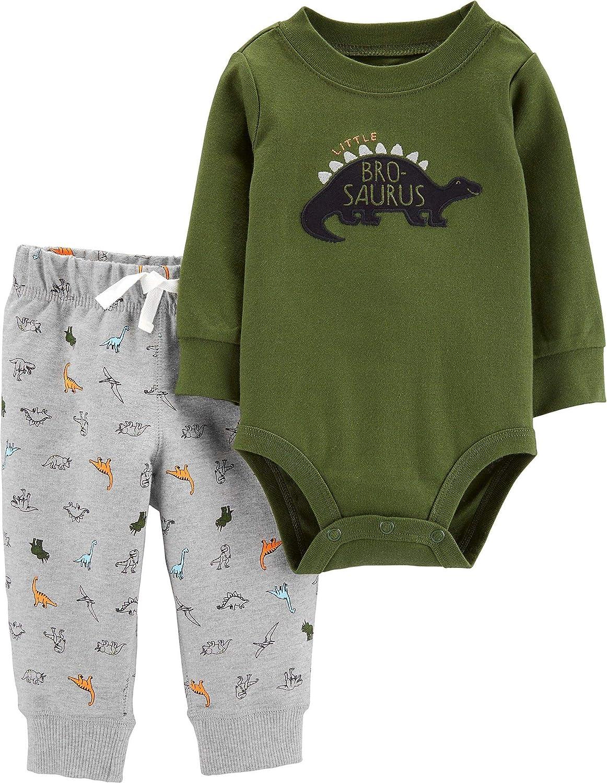 Carter's 2-Piece Little Helper Bodysuit and Pants Set (Green/Dinosaur