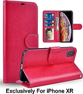 Pelotek; iPhone XR Wallet Case, iPhone XR Hot Pink Case | Elegant Hot Pink Genuine Luxury Leather Case | With Lanyard Strap, Card/ID Money Holders Slots | Durable Inner Case | Rose Pink Case (Hot Pink