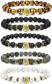 1-10 Pcs Lava Rock Stone Bead Bracelet for Men Women Leopard Head Bracelet Set Adjustable,8MM Stone