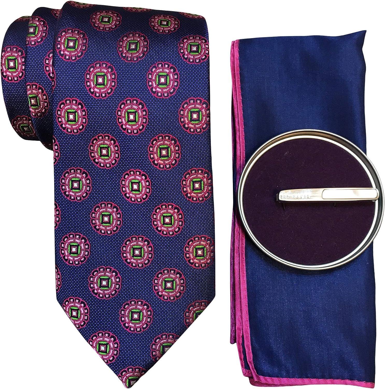 Ted Baker Men's Gift Set Tie, Pocket Square, Semi Precious Stone Tie Clip