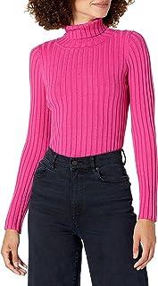 The Drop Amy Suéter entallado de tejido acanalado y cuello cisne para mujer