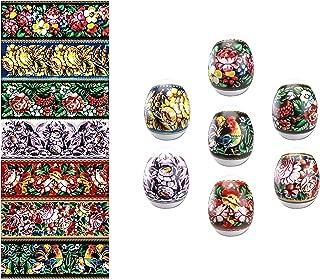 Ukrainian Ukrasa Heat Shrink Wrap Sleeve Decoration Easter Egg Wrappers Pysanka Arounds Set (Zhostovo)