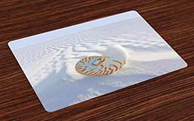 Amazon Com Lunarable Seashells Place Mats Set Of 4 Nautilus Spiral Shell Sand Dune Seashore Beach Marine Pattern And Natural Washable Fabric Placemats For Dining Room Kitchen Table Decor Purple Blue Dust Home